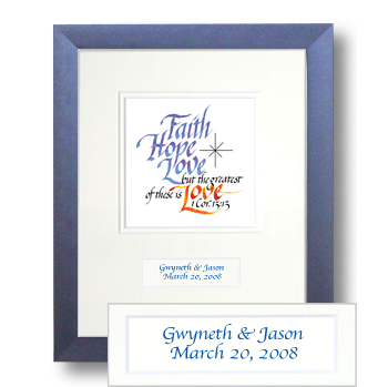 Faith, Hope, Love, 1 Corinthians 13:13, Calligraphy Art Plaques, Inspirational Gifts