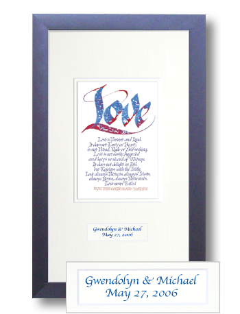 Love, 1 Corinthians 13, Calligraphy Art Plaques, Inspirational Gifts