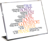 Think, Philippians 4:8, Calligraphy Art Plaques, Inspirational Gifts