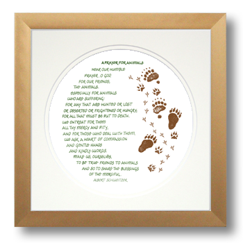 Prayer for Animals, Albert Schweitzer, Calligraphy Art Plaques, Inspirational Gifts