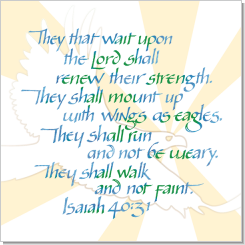 Eagle, Isaiah 40:31, Calligraphy Art Plaques, Inspirational Gifts