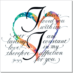 Heart, Jeremiah 31:3, Calligraphy Art Plaques, Inspirational Gifts