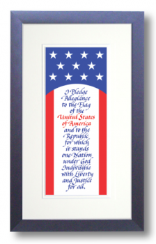Pledge of Allegiance, Calligraphy Art Plaques, Inspirational Gifts