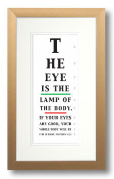 Eye Chart, Matthew 6:22, Calligraphy Art Plaques, Inspirational Gifts