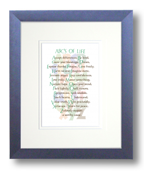 ABC's of Life, Calligraphy Art Plaques, Inspirational Gifts