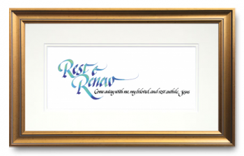Rest & Renew, From Mark 6:31, Calligraphy Art Plaques, Inspirational Gifts