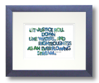 Justice, Amos 5:24, Calligraphy Art Plaques, Inspirational Gifts