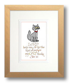 Cat 2, Calligraphy Art Plaques, Inspirational Gifts