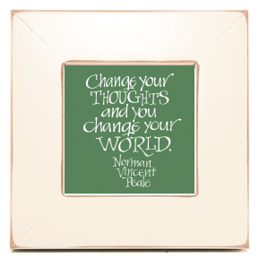 Change your Thoughts, Norman Vincent Peale, Calligraphy Art Plaques, Inspirational Gifts