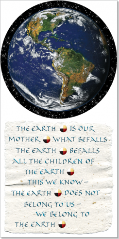 Earth, Chief Seattle, Calligraphy Art Plaques, Inspirational Gifts