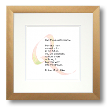 Q, Rainer Maria Rilke, Calligraphy Art Plaques, Inspirational Gifts