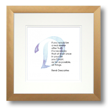 D, René Descartes, Calligraphy Art Plaques, Inspirational Gifts
