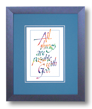 All Things, Matthew 19:26, Calligraphy Art Plaques, Inspirational Gifts