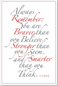 Always Remember (Red & Gray), A. A. Milne, Calligraphy Art Plaques, Inspirational Gifts