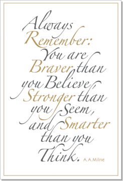 Always Remember (Gold & Gray), A. A. Milne, Calligraphy Art Plaques, Inspirational Gifts