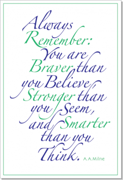 Always Remember (Green & Blue), A. A. Milne, Calligraphy Art Plaques, Inspirational Gifts