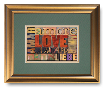 Love in Many Different Languages, Block Type Faces, Calligraphy Art Plaques, Inspirational Gifts