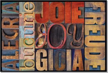 Joy in Many Different Languages, Block Type Faces, Calligraphy Art Plaques, Inspirational Gifts