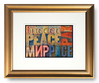 Peace in Many Different Languages, Block Type Faces, Calligraphy Art Plaques, Inspirational Gifts