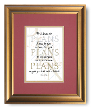 Plans, Jeremiah 29:11, Calligraphy Art Plaques, Inspirational Gifts