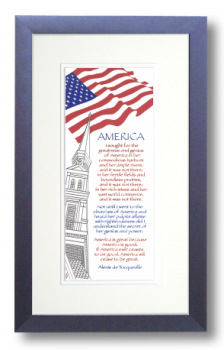 America, Alexis DeTocqueville, Calligraphy Art Plaques, Inspirational Gifts