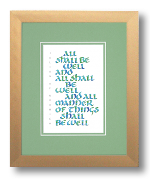 Julian of Norwich, All Shall be Well, Calligraphy Art Plaques, Inspirational Gifts