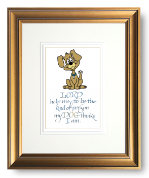 Dog, Calligraphy Art Plaques, Inspirational Gifts