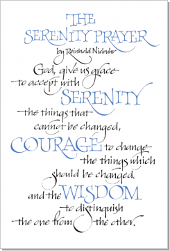 Serenity Prayer, Reinhold Niebuhr, Calligraphy Art Plaques, Inspirational Gifts