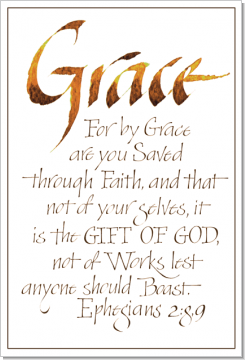 Grace, Ephesians 2:8-9, Calligraphy Art Plaques, Inspirational Gifts