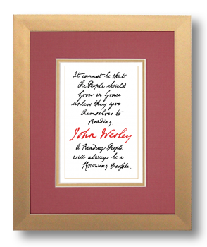 Reading, John Wesley, Calligraphy Art Plaques, Inspirational Gifts