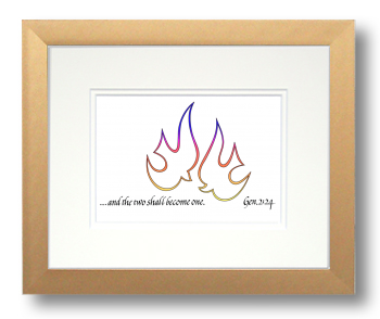 Doves, Genesis 2:24, Calligraphy Art Plaques, Inspirational Gifts